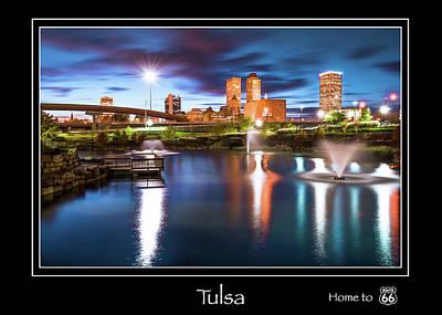 Photograph - Tulsa Oklahoma Skyline City Name Print - Route 66 - Color by Gregory Ballos