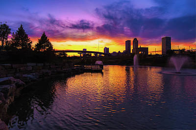Photograph - Tulsa Oklahoma Skyline On Fire by Gregory Ballos