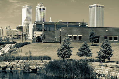 City Art Photograph - Tulsa Oklahoma Skyline Park View - Sepia by Gregory Ballos