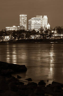 Photograph - Tulsa Oklahoma Skyline Sepia River Reflections by Gregory Ballos
