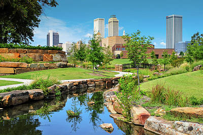 Photograph - Tulsa Oklahoma Skyline View From Central Centennial Park by Gregory Ballos