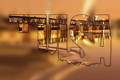 Photograph - Tulsa Oklahoma Typography Blur - State Shape Series - Liquid Gold - 21st Street Bridge by Gregory Ballos