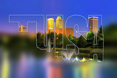 Photograph - Tulsa Oklahoma Typography Blur - State Shape Series - Purple In The Sky - Downtown Skyline Of Tulsa by Gregory Ballos