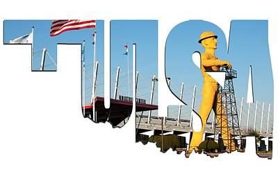 Photograph - Tulsa Oklahoma Typography - Tulsa Driller And Expo Center by Gregory Ballos
