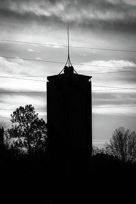 Oklahoma University Photograph - Tulsa Oklahoma University Tower Silhouette - Black And White by Gregory Ballos