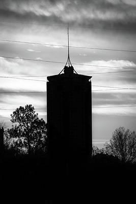 Oklahoma University Photograph - Tulsa Oklahoma University Tower Silhouette - Black And White by Gregory Ballos