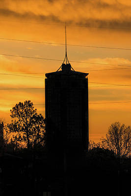 Oklahoma University Photograph - Tulsa Oklahoma University Tower Silhouette - Orange Sky by Gregory Ballos