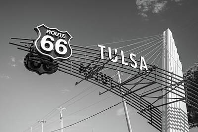 Photograph - Tulsa Oklahoma Vintage Route 66 Sign - Black And White by Gregory Ballos
