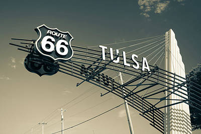 Photograph - Tulsa Oklahoma Vintage Route 66 Sign - Dark Sepia by Gregory Ballos