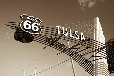 Photograph - Tulsa Oklahoma Vintage Route 66 Sign - Sepia by Gregory Ballos