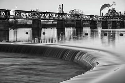Photograph - Tulsa Pedestrian Bridge And Arkansas River - Black And White by Gregory Ballos