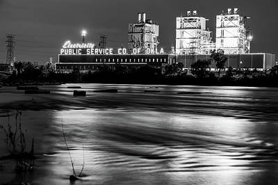 Photograph - Tulsa Pso Plant On The River - Black And White by Gregory Ballos