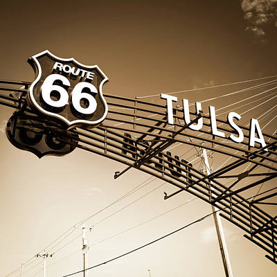 Photograph - Tulsa Retro Route 66 - Sepia Square Edition by Gregory Ballos
