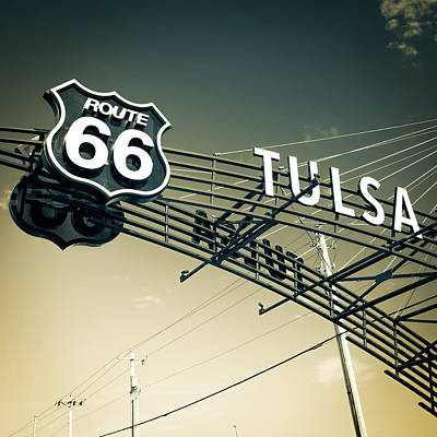Photograph - Tulsa Retro Route 66 - Vintage Sepia Square Edition by Gregory Ballos