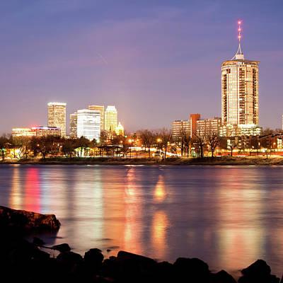 Tulsa Riverside Skyline At Night Art Print by Gregory Ballos