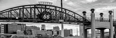Photograph - Tulsa Route 66 - Cyrus Avery Plaza - Black And White Panoramic by Gregory Ballos