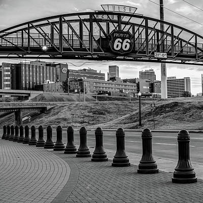 Photograph - Tulsa Route 66 - Cyrus Avery Plaza - Square Art Black And White by Gregory Ballos