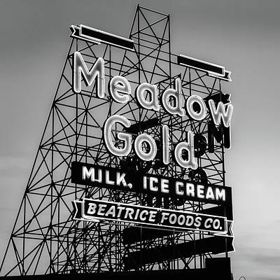 Photograph - Tulsa Route 66 Meadow Gold Vintage Neon - Black And White 1x1 by Gregory Ballos
