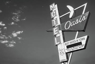 Photograph - Tulsa Route 66 Oasis Motel Neon Sign - Black And White by Gregory Ballos