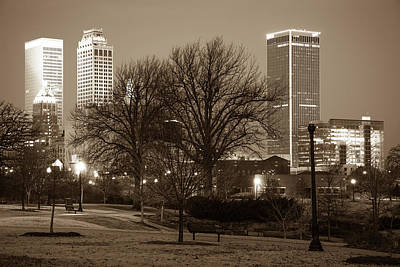 Photograph - Tulsa Sepia Skyline - Oklahoma Usa by Gregory Ballos