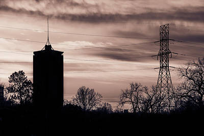 Photograph - Tulsa Silhouettes And Cloudy Skies - University Tower Morning  by Gregory Ballos