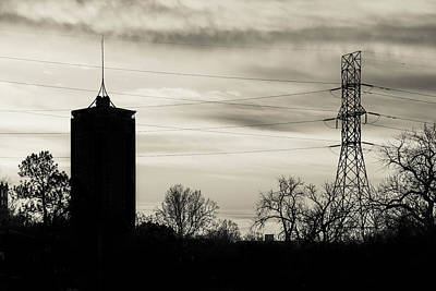 Photograph - Tulsa Silhouettes And Milky Skies - University Tower Morning  by Gregory Ballos