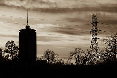 Photograph - Tulsa Silhouettes And Sepia Skies - University Tower Morning  by Gregory Ballos