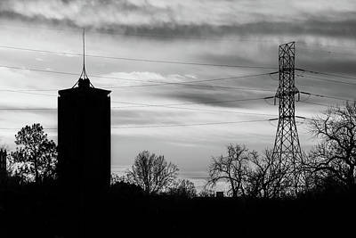 Black And White Photograph - Tulsa Silhouettes In Black And White by Gregory Ballos