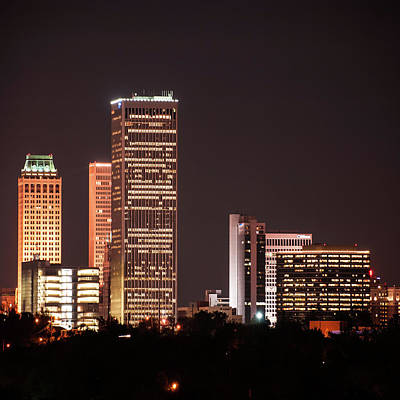 Print featuring the photograph Tulsa Skyline Above The Trees 1x1 by Gregory Ballos