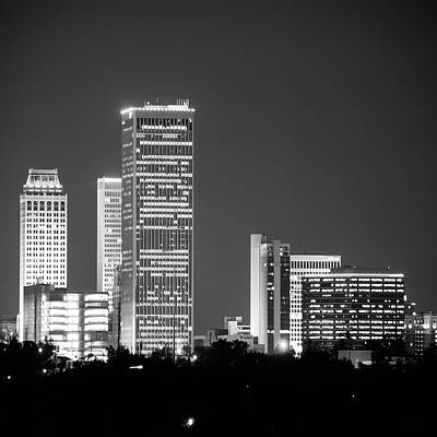Print featuring the photograph Tulsa Skyline Above The Trees Black And White 1x1 by Gregory Ballos