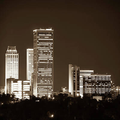 Photograph - Tulsa Skyline Above The Trees Sepia 1x1 by Gregory Ballos