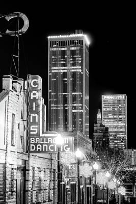 Photograph - Tulsa Skyline And Cains Ballroom Music Hall - Black And White by Gregory Ballos