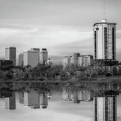 Photograph - Tulsa Skyline And Skycraper Art - Black And White Edition 1x1 by Gregory Ballos