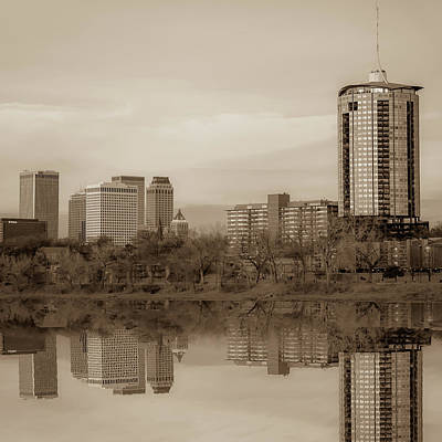 Photograph - Tulsa Skyline And Skycraper Art - Sepia Edition 1x1 by Gregory Ballos