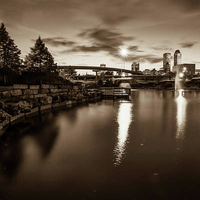 Photograph - Tulsa Skyline At Dusk - Sepia Edition From Centennial Park 1x1  by Gregory Ballos