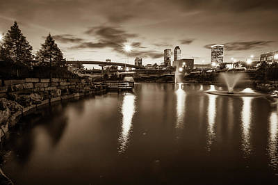 Photograph - Tulsa Skyline At Dusk - Sepia Edition From Centennial Park by Gregory Ballos