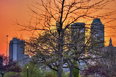 Photograph - Tulsa Skyline At Sunset Through Trees  by Gregory Ballos