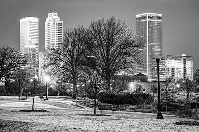 Tulsa Skyline Behind Barren Trees - Black And White Art Print by Gregory Ballos