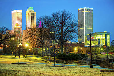 City Scenes Royalty-Free and Rights-Managed Images - Tulsa Skyline Behind Barren Trees by Gregory Ballos