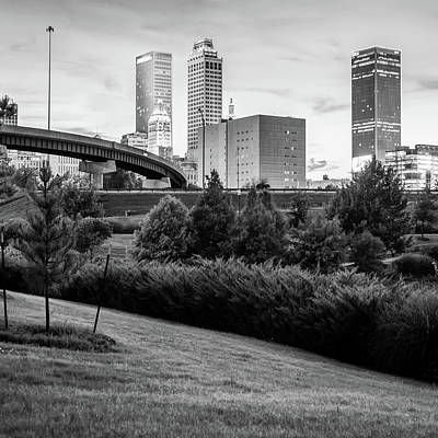 Photograph - Tulsa Skyline Black And White City Landscape 1x1 by Gregory Ballos