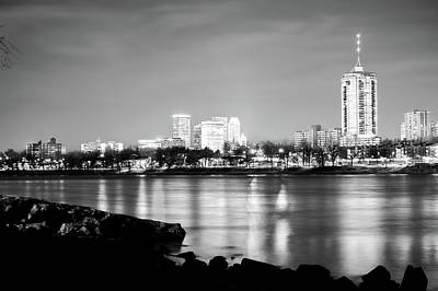 Photograph - Tulsa Skyline Black And White On The River by Gregory Ballos