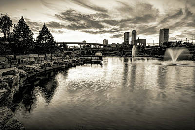 Photograph - Tulsa Skyline Light Reflections - Monochrome by Gregory Ballos