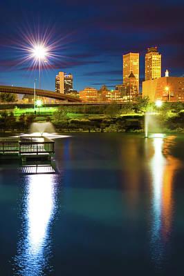 Photograph - Tulsa Skyline Lights At Dawn by Gregory Ballos