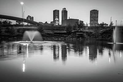 Photograph - Tulsa Skyline Monochromatic Reflections by Gregory Ballos