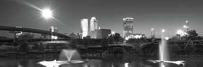 Photograph - Tulsa Skyline Night Panorama - Black And White by Gregory Ballos
