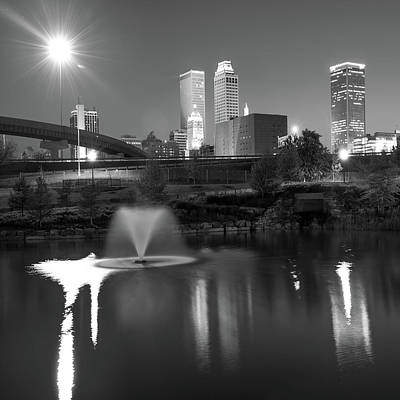 Print featuring the photograph Tulsa Skyline On The Water 1x1 - Black And White by Gregory Ballos