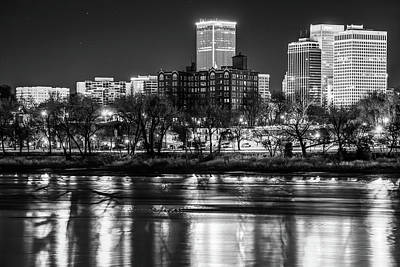Photograph - Tulsa Skyline Over The Arkansas River - Black And White by Gregory Ballos