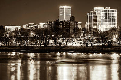 Photograph - Tulsa Skyline Over The Arkansas River - Sepia by Gregory Ballos