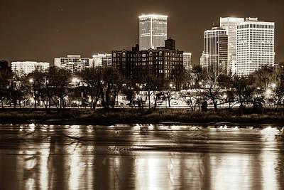 Photograph - Tulsa Skyline Over The Arkansas River - Sepia by Gregory Ballos