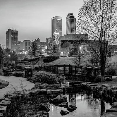 Photograph - Tulsa Skyline Park View - Black And White by Gregory Ballos